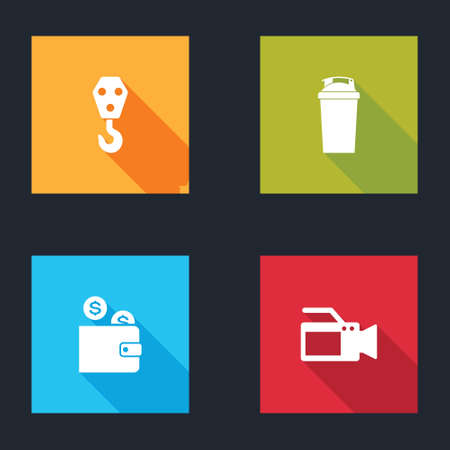 Set Industrial hook, Fitness shaker, Wallet with coin and Cinema camera icon. Vector Illusztráció