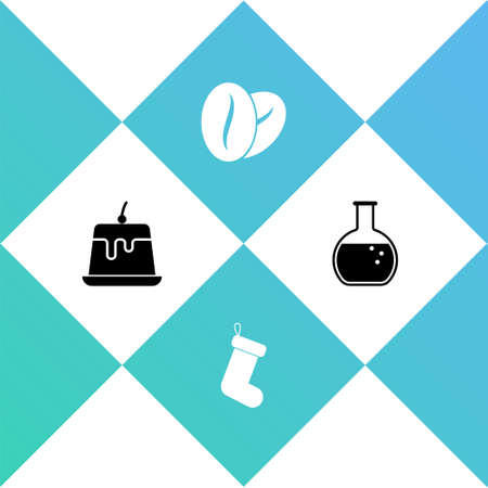 Set Pudding custard, Christmas sock, Coffee beans and Test tube and flask icon. Vector Illustration