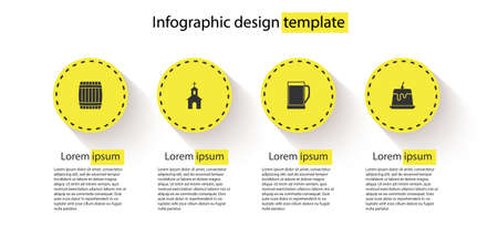 Set Wooden barrel, Church building, Glass of beer and Pudding custard. Business infographic template. Vector
