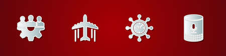 Set Project team base, Plane, Clock and gear and Voice assistant icon. Vector