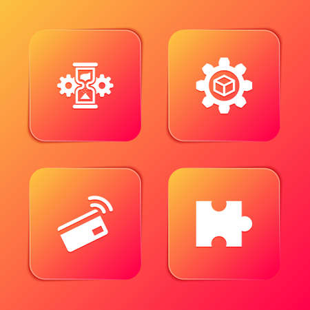 Set Hourglass and gear, Product development, Contactless payment and Piece of puzzle icon. Vector