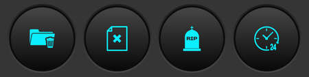 Set Delete folder, file document, Tombstone with RIP written and Clock 24 hours icon. Vector 矢量图像
