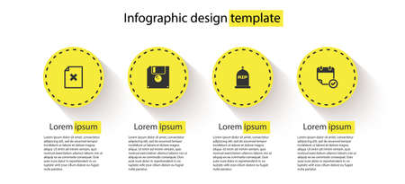 Set Delete file document, Floppy disk, Tombstone with RIP written and Calendar check mark. Business infographic template. Vector 矢量图像