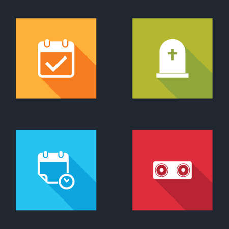 Set Calendar with check mark, Tombstone cross, and clock and Stereo speaker icon. Vector