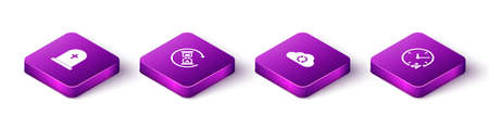 Set Isometric Tombstone with cross, Waiting, Cloud sync refresh and Clock 24 hours icon. Vector 矢量图像