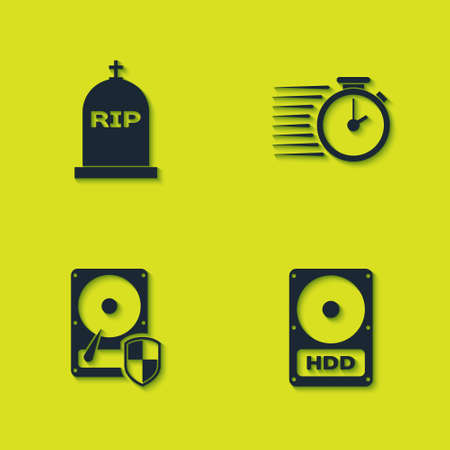 Set Tombstone with RIP written, Hard disk drive HDD, protection and Stopwatch icon. Vector 矢量图像