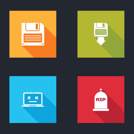 Set Floppy disk, backup, Dead laptop and Tombstone with RIP written icon. Vector 矢量图像