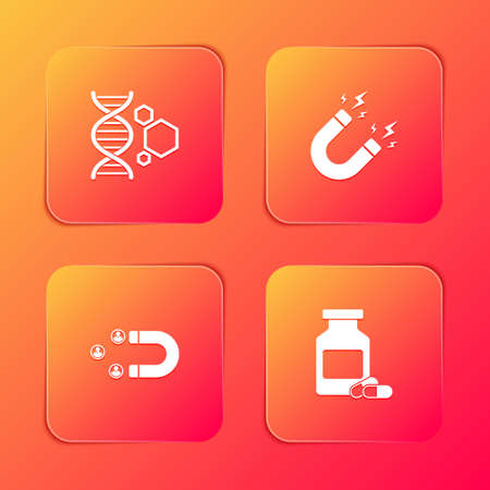 Set Genetic engineering, Magnet with lightning, Customer attracting and Medicine bottle and pills icon. Vector