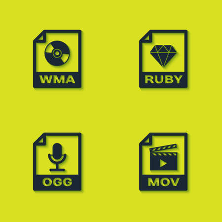 Set WMA file document, MOV, OGG and RUBY icon. Vector