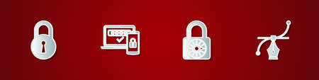 Set Lock, Two steps authentication, Safe combination lock wheel and Bezier curve icon. Vector