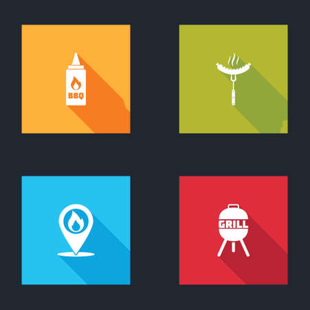 Set Ketchup bottle, Sausage on the fork, Location with fire flame and Barbecue grill icon. Vector Çizim