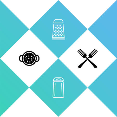 Set Cooking soup in pot, Salt and pepper, Grater and Crossed fork icon. Vector
