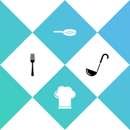 Set Fork, Chef hat, Frying pan and Kitchen ladle icon. Vector