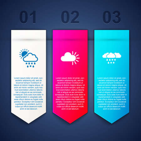 Set Cloud with snow, rain, sun, Cloudy and and. Business infographic template. Vector