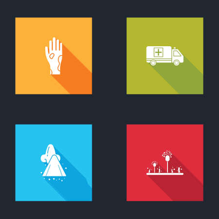 Set Hand with psoriasis or eczema, Emergency car, Runny nose and Mold icon. Vector