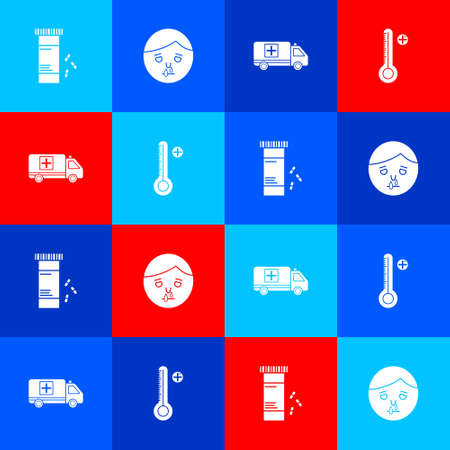 Set Medicine bottle and pills, Runny nose, Emergency car and Medical digital thermometer icon. Vector