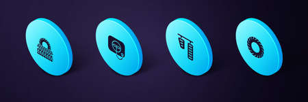 Set Isometric Car tire, gas and brake pedals, Oil filler cap at station and icon. Vector Illustration