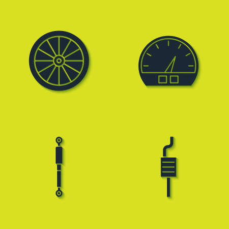 Set Car wheel, muffler, Shock absorber and Speedometer icon. Vector