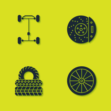 Set Chassis car, Car wheel, tire and brake disk with caliper icon. Vector Illustration