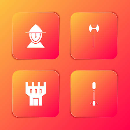 Set Medieval iron helmet, axe, Castle tower and Torch flame icon. Vector 向量圖像