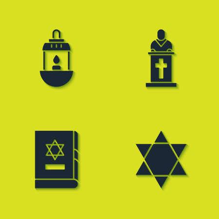 Set Ramadan Kareem lantern, Star of David, Jewish torah book and Church pastor preaching icon. Vector