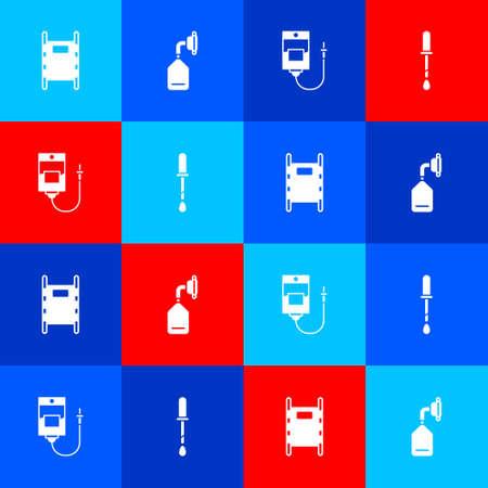 Set Stretcher, Medical oxygen mask, IV bag and Pipette icon. Vector Çizim