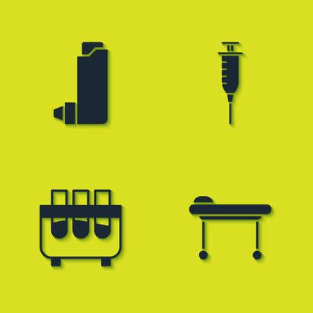 Set Inhaler, Stretcher, Test tube and flask and Syringe icon. Vector