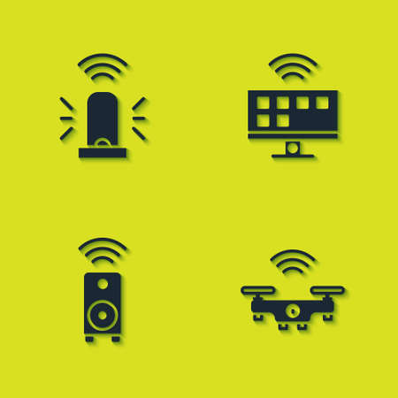 Set Smart flasher siren, drone, stereo speaker and Tv system icon. Vector