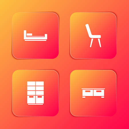 Set Bed, Armchair, Wardrobe and Chest of drawers icon. Vector