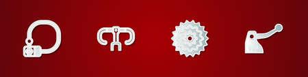 Set Bicycle lock, handlebar, cassette and brake icon. Vector Illustration