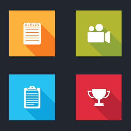 Set Notebook, Movie or Video camera, Clipboard with document and Trophy cup icon. Vector