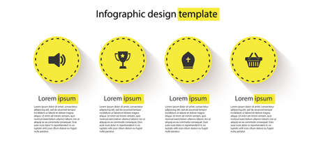 Set Speaker volume, Trophy cup, Pope hat and Shopping basket. Business infographic template. Vector Stock Illustratie