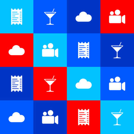 Set Paper or financial check, Martini glass, Cloud and Movie Video camera icon. Vector