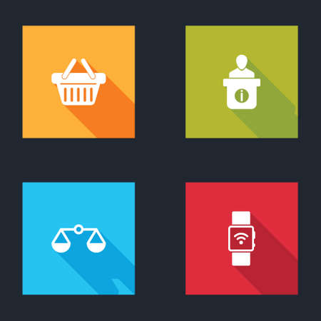 Set Shopping basket, Information desk, Scales of justice and Smartwatch with wireless icon. Vector