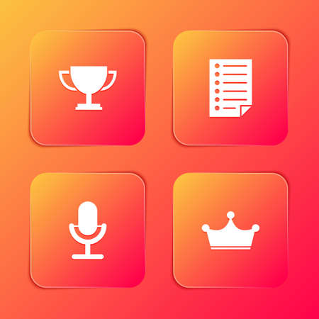 Set Trophy cup, Document, Microphone and Crown icon. Vector