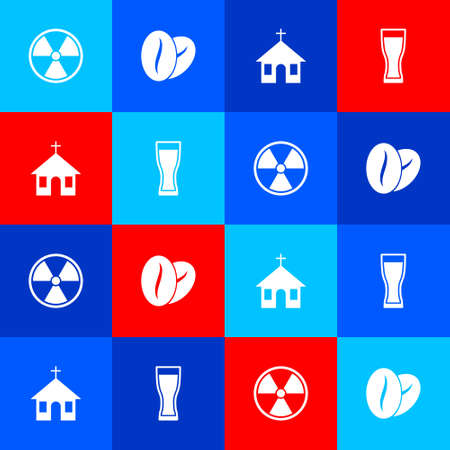 Set Radioactive, Coffee beans, Church building and Glass beer icon. Vector Çizim
