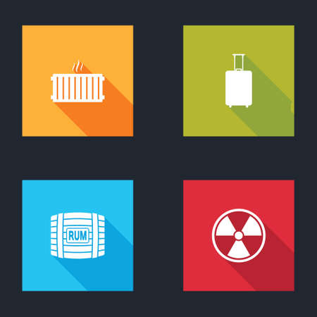 Set Heating radiator, Travel suitcase, Wooden barrel with rum and Radioactive icon. Vector