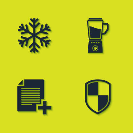 Set Snowflake, Shield, Add new file and Blender icon. Vector
