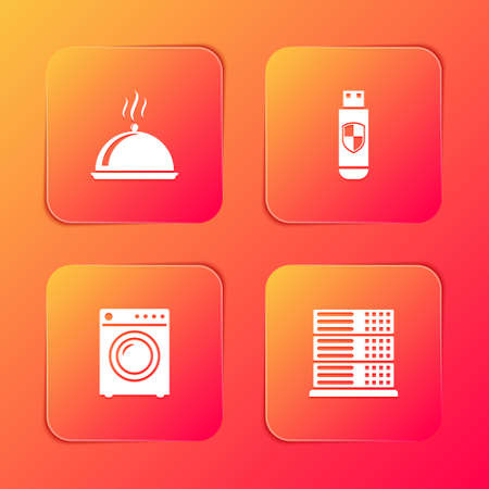 Set Covered with tray of food, USB flash drive and shield, Washer and Server, Data, Web Hosting icon. Vector