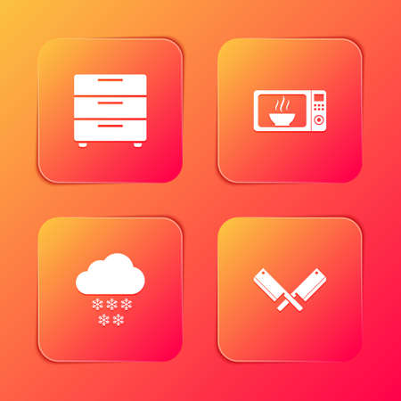 Set Furniture nightstand, Microwave oven, Cloud with snow and Crossed meat chopper icon. Vector