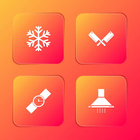 Set Snowflake, Crossed meat chopper, Wrist watch and Kitchen extractor fan icon. Vector 矢量图像