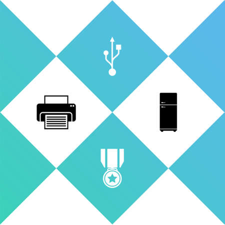 Set Printer, Medal with star, USB and Refrigerator icon. Vector
