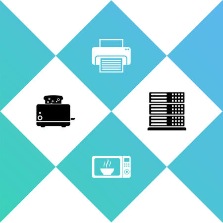 Set Toaster with toasts, Microwave oven, Printer and Server, Data, Web Hosting icon. Vector 矢量图像