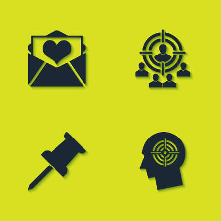 Set Envelope with Valentine heart, Head hunting concept, Push pin and Marketing target strategy icon. Vector