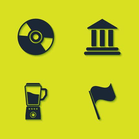 Set CD or DVD disk, Flag, Blender and Bank building icon. Vector