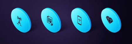 Set Isometric Diamond, Smartphone with wireless, Document protection and Antenna icon. Vector