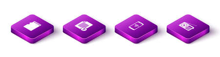 Set Isometric Micro SD memory card, Upload file, Smartphone with wireless and Radio icon. Vector