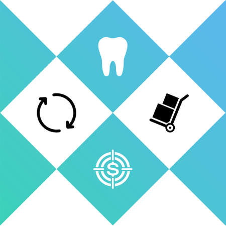 Set Refresh, Target with dollar, Tooth and Hand truck and boxes icon. Vector