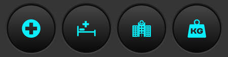 Set Medical cross in circle, Hospital bed, hospital building and Weight icon. Vector 矢量图像