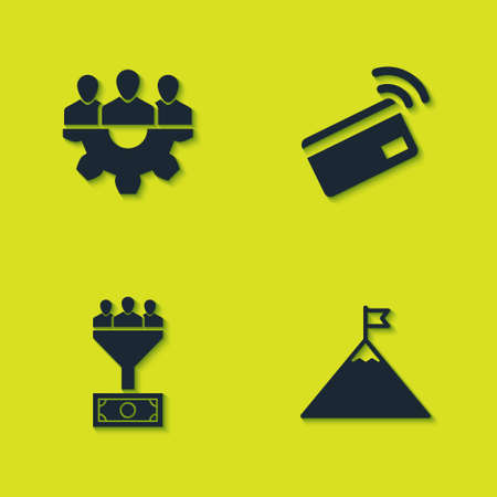 Set Project team base, Mountains and flag, Lead management and Contactless payment icon. Vector Stock Illustratie